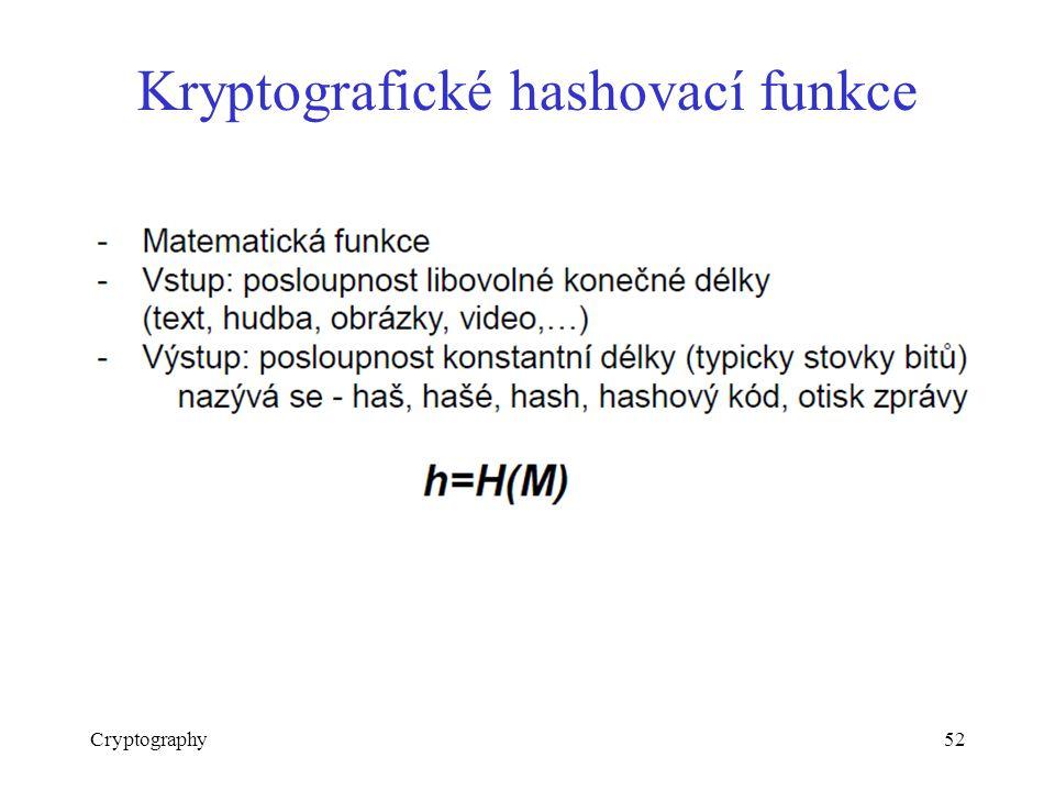 Kryptografické hashovací funkce Cryptography52