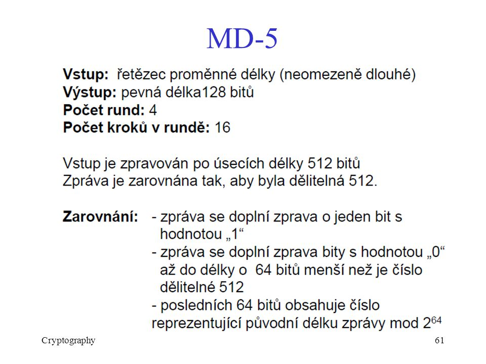 MD-5 Cryptography61
