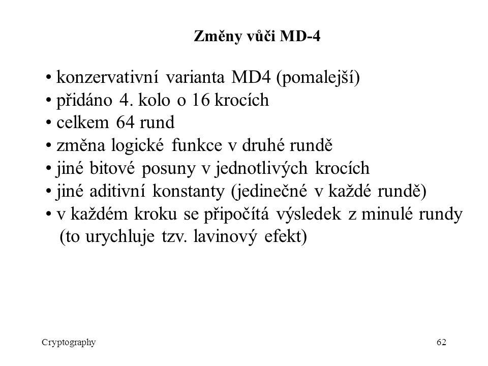 Cryptography62 Změny vůči MD-4 konzervativní varianta MD4 (pomalejší) přidáno 4.