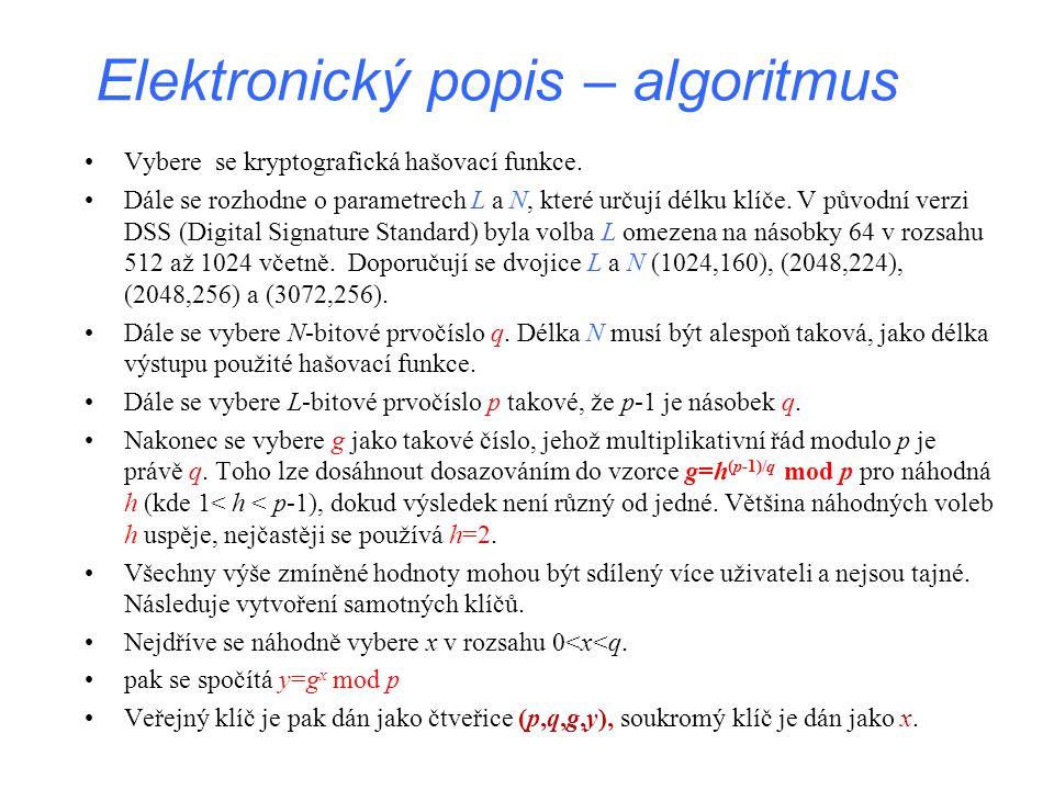 Elektronický popis – algoritmus Vybere se kryptografická hašovací funkce. Dále se rozhodne o parametrech L a N, které určují délku klíče. V původní ve