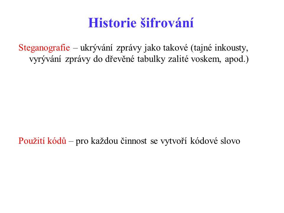 Historie šifrování Steganografie – ukrývání zprávy jako takové (tajné inkousty, vyrývání zprávy do dřevěné tabulky zalité voskem, apod.) Použití kódů