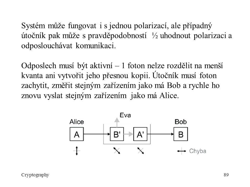 Cryptography89 Systém může fungovat i s jednou polarizací, ale případný útočník pak může s pravděpodobností ½ uhodnout polarizaci a odposlouchávat kom