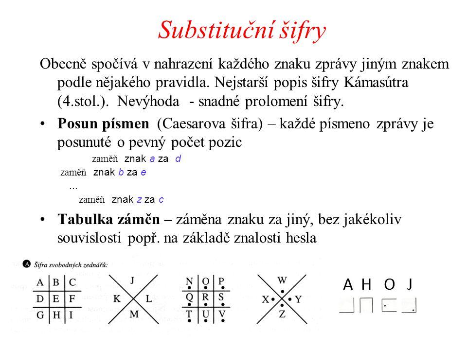 Substituční šifry Obecně spočívá v nahrazení každého znaku zprávy jiným znakem podle nějakého pravidla. Nejstarší popis šifry Kámasútra (4.stol.). Nev