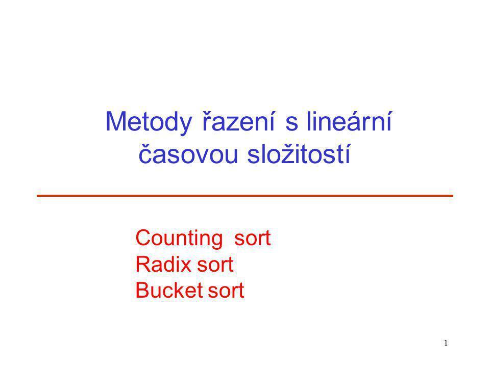 1 Metody řazení s lineární časovou složitostí Counting sort Radix sort Bucket sort