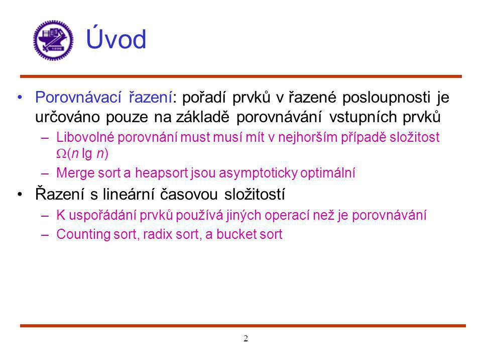 2 Úvod Porovnávací řazení: pořadí prvků v řazené posloupnosti je určováno pouze na základě porovnávání vstupních prvků –Libovolné porovnání must musí