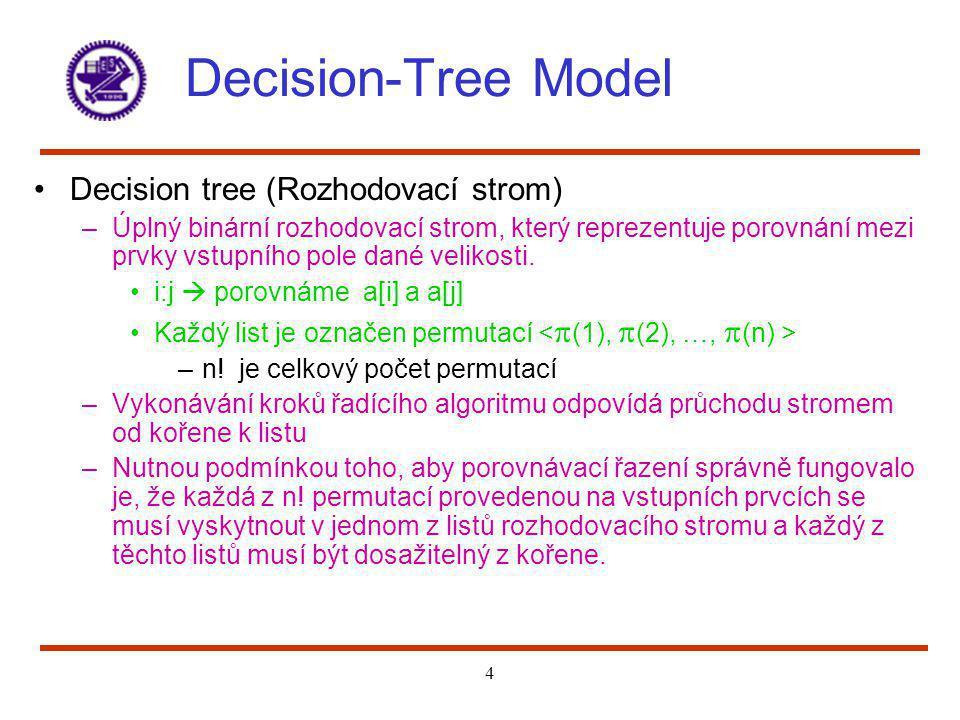 4 Decision-Tree Model Decision tree (Rozhodovací strom) –Úplný binární rozhodovací strom, který reprezentuje porovnání mezi prvky vstupního pole dané