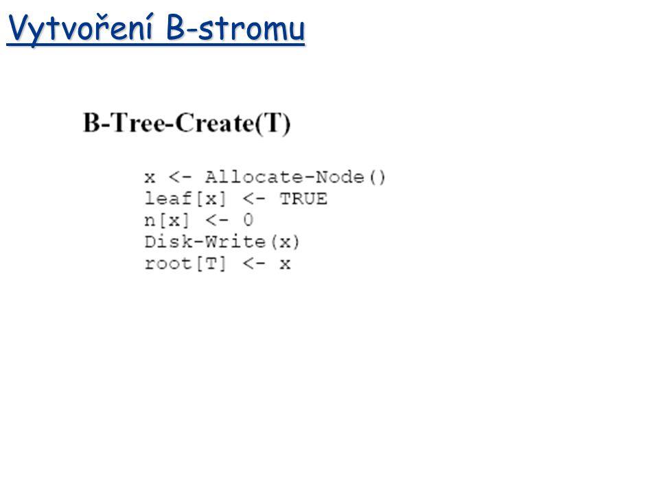 Vytvoření B-stromu