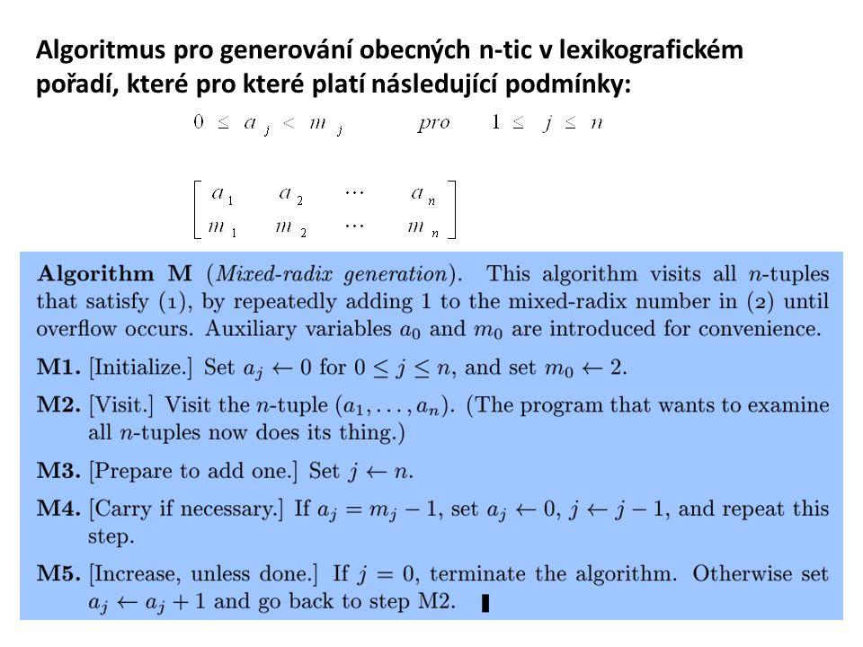 Generování lexikograficky uspořádaných permutací