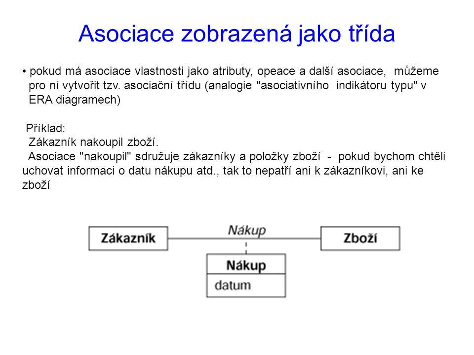 pokud má asociace vlastnosti jako atributy, opeace a další asociace, můžeme pro ní vytvořit tzv.