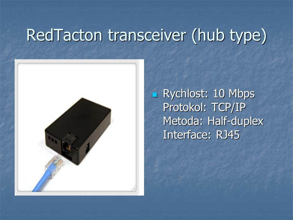 RedTacton transceiver (hub type) Rychlost: 10 Mbps Protokol: TCP/IP Metoda: Half-duplex Interface: RJ45 Rychlost: 10 Mbps Protokol: TCP/IP Metoda: Half-duplex Interface: RJ45