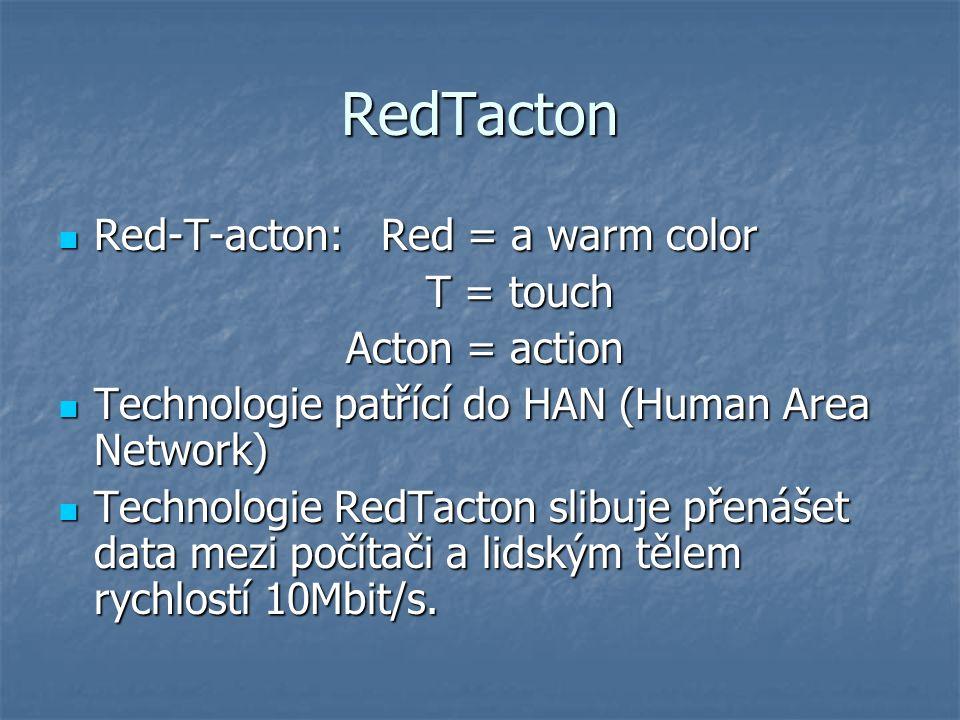 Závěr Bohužel RedTacton je stále v testování, proto Vám nebylo zveřejněno více informací, ale možná je to nová technologie, která najde velké uplatnění v dnešním světě Bohužel RedTacton je stále v testování, proto Vám nebylo zveřejněno více informací, ale možná je to nová technologie, která najde velké uplatnění v dnešním světě