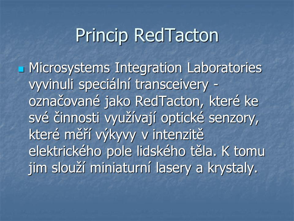 Princip RedTacton Microsystems Integration Laboratories vyvinuli speciální transceivery - označované jako RedTacton, které ke své činnosti využívají optické senzory, které měří výkyvy v intenzitě elektrického pole lidského těla.