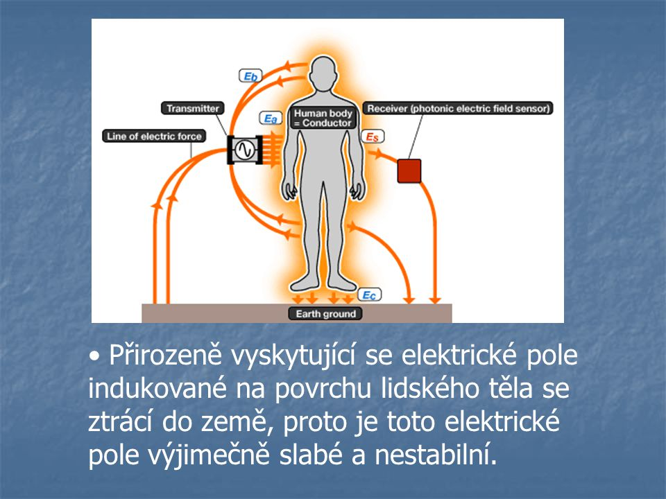 Přirozeně vyskytující se elektrické pole indukované na povrchu lidského těla se ztrácí do země, proto je toto elektrické pole výjimečně slabé a nestabilní.