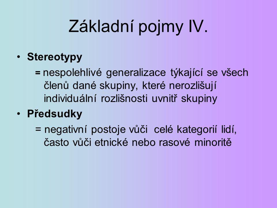 Základní pojmy IV. Stereotypy = nespolehlivé generalizace týkající se všech členů dané skupiny, které nerozlišují individuální rozlišnosti uvnitř skup