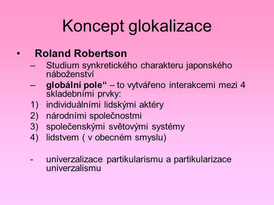 """Koncept glokalizace Roland Robertson –Studium synkretického charakteru japonského náboženství –globální pole"""" – to vytvářeno interakcemi mezi 4 sklade"""