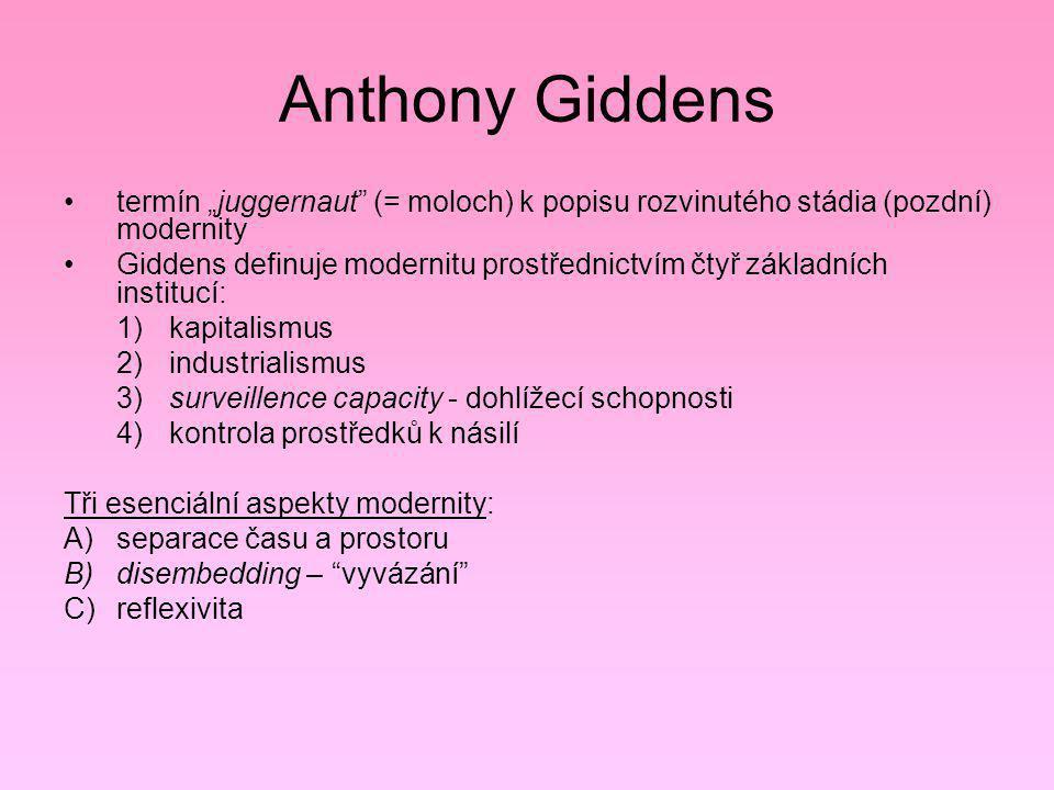 """Anthony Giddens termín """"juggernaut"""" (= moloch) k popisu rozvinutého stádia (pozdní) modernity Giddens definuje modernitu prostřednictvím čtyř základní"""