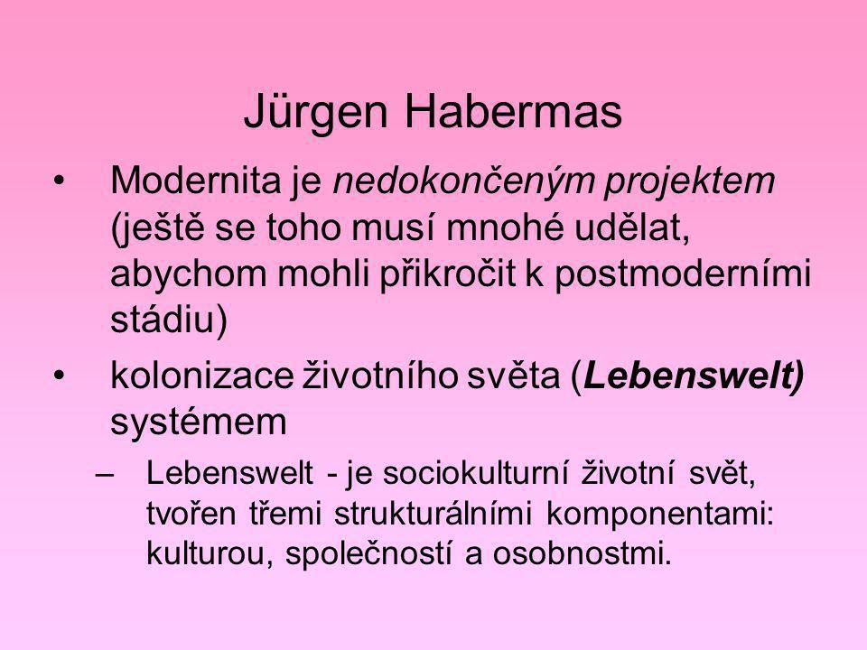 Jürgen Habermas Modernita je nedokončeným projektem (ještě se toho musí mnohé udělat, abychom mohli přikročit k postmoderními stádiu) kolonizace život