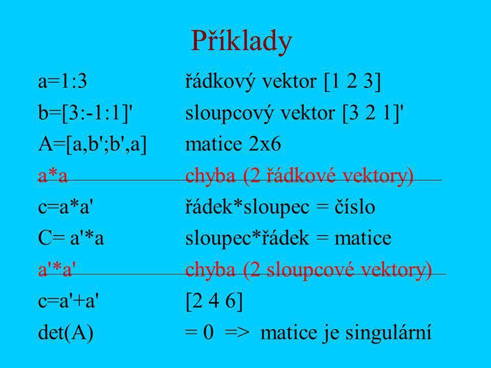 Příklady a=1:3řádkový vektor [1 2 3] b=[3:-1:1] sloupcový vektor [3 2 1] A=[a,b ;b ,a]matice 2x6 a*achyba (2 řádkové vektory) c=a*a řádek*sloupec = číslo C= a *asloupec*řádek = matice a *a chyba (2 sloupcové vektory) c=a +a [2 4 6] det(A)= 0 => matice je singulární
