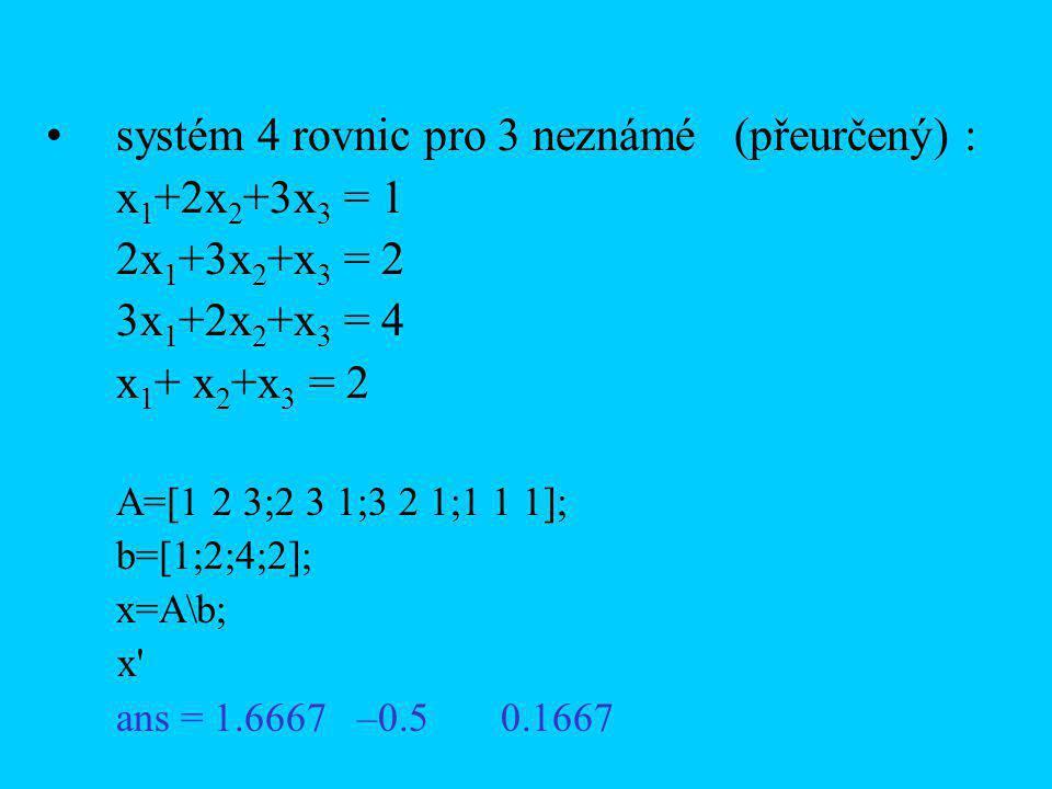 systém 4 rovnic pro 3 neznámé (přeurčený) : x 1 +2x 2 +3x 3 = 1 2x 1 +3x 2 +x 3 = 2 3x 1 +2x 2 +x 3 = 4 x 1 + x 2 +x 3 = 2 A=[1 2 3;2 3 1;3 2 1;1 1 1]; b=[1;2;4;2]; x=A\b; x ans = 1.6667 –0.5 0.1667