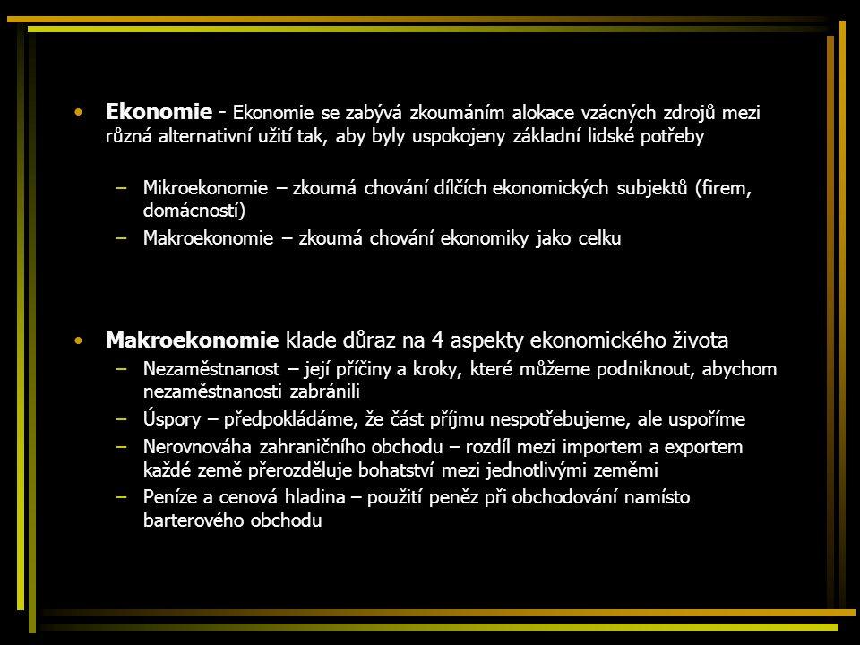 Účetnictví národního důchodu Hlavním zájmem makroekonomické analýzy je hrubý národní produkt GNP – souhrn veškeré finální produkce vyprodukované výrobními faktory v držení občanů země Skládá se z: –Spotřeby C –Investic I –Vládních nákupů G –Zůstatku běžného účtu NX Započítávají se pouze finální produkty Odečteme-li amortizaci kapitálu, daně a přičteme-li jednostranné transfery, získáme národní důchod Y Odečteme-li čistý příjem z majetku v zahraničí, získáme hrubý domácí produkt GDP