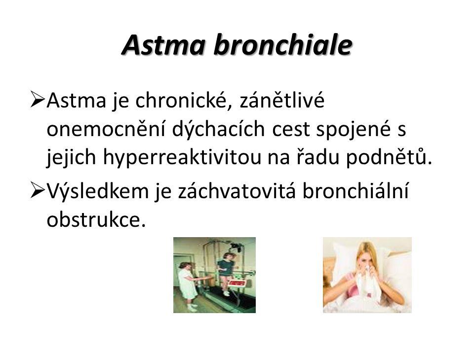  Astma je chronické, zánětlivé onemocnění dýchacích cest spojené s jejich hyperreaktivitou na řadu podnětů.  Výsledkem je záchvatovitá bronchiální o