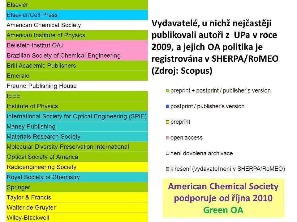 Vydavatelé, u nichž nejčastěji publikovali autoři z UPa v roce 2009, a jejich OA politika je registrována v SHERPA/RoMEO (Zdroj: Scopus) American Chem