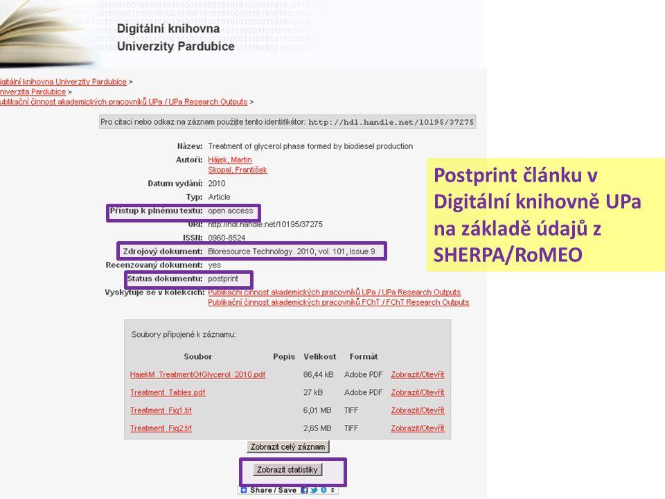 Postprint článku v Digitální knihovně UPa na základě údajů z SHERPA/RoMEO