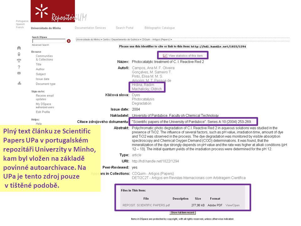 Plný text článku ze Scientific Papers UPa v portugalském repozitáři Univerzity v Minho, kam byl vložen na základě povinné autoarchivace. Na UPa je ten