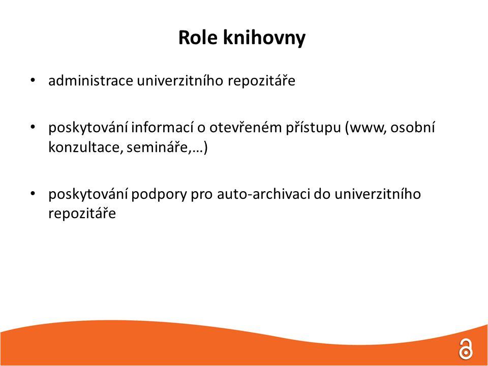 Role knihovny administrace univerzitního repozitáře poskytování informací o otevřeném přístupu (www, osobní konzultace, semináře,…) poskytování podpory pro auto-archivaci do univerzitního repozitáře