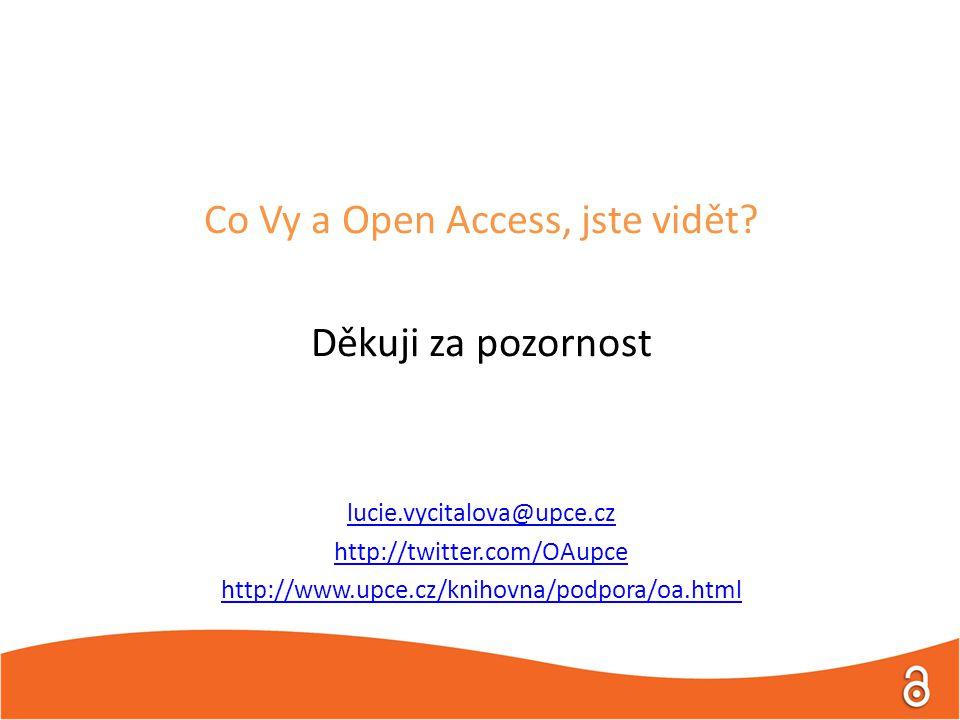 Co Vy a Open Access, jste vidět? Děkuji za pozornost lucie.vycitalova@upce.cz http://twitter.com/OAupce http://www.upce.cz/knihovna/podpora/oa.html