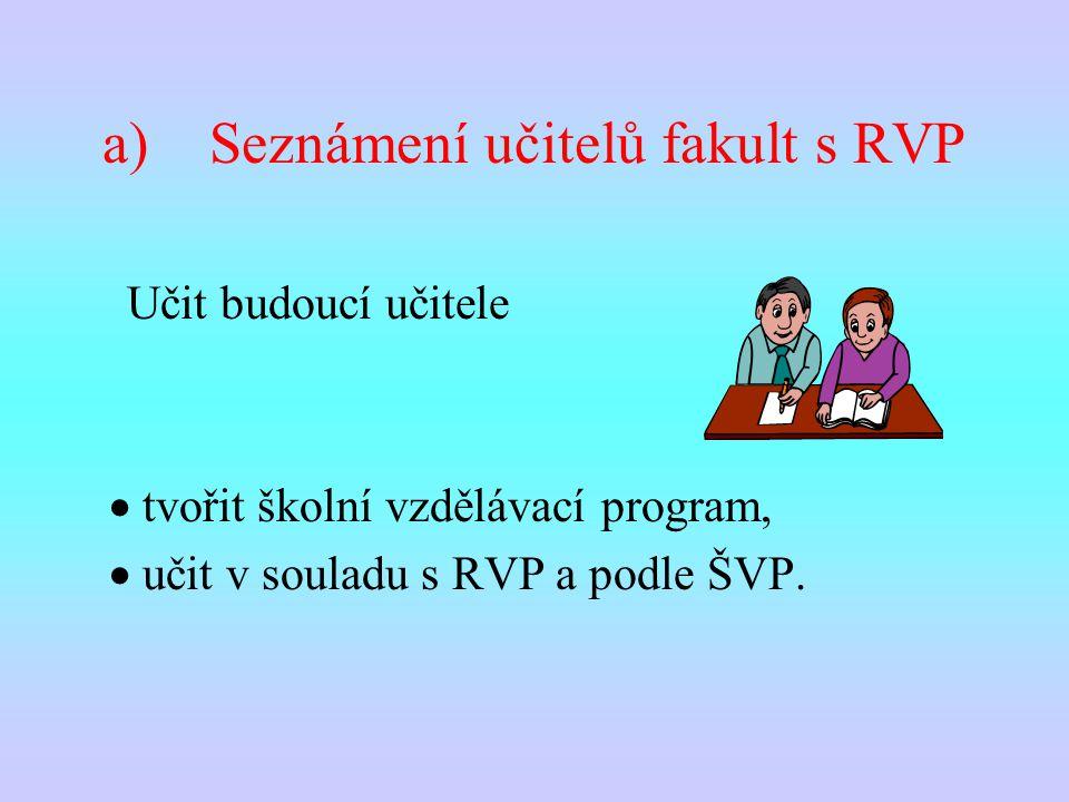 a)Seznámení učitelů fakult s RVP  tvořit školní vzdělávací program,  učit v souladu s RVP a podle ŠVP.