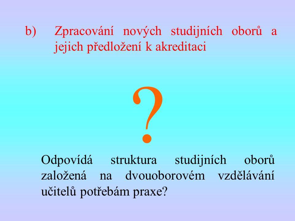 b)Zpracování nových studijních oborů a jejich předložení k akreditaci Odpovídá struktura studijních oborů založená na dvouoborovém vzdělávání učitelů potřebám praxe.