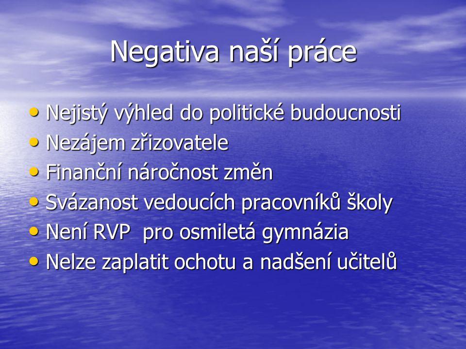 Negativa naší práce Nejistý výhled do politické budoucnosti Nejistý výhled do politické budoucnosti Nezájem zřizovatele Nezájem zřizovatele Finanční n