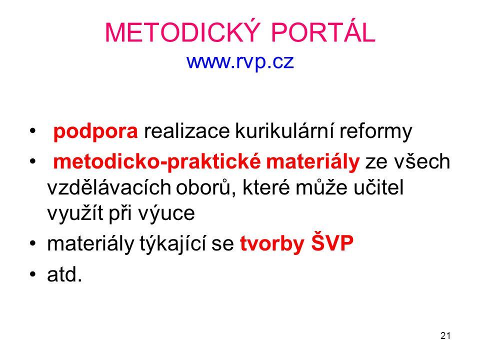 21 METODICKÝ PORTÁL www.rvp.cz podpora realizace kurikulární reformy metodicko-praktické materiály ze všech vzdělávacích oborů, které může učitel využ