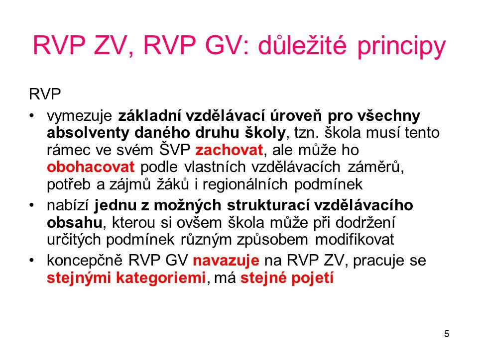 5 RVP ZV, RVP GV: důležité principy RVP vymezuje základní vzdělávací úroveň pro všechny absolventy daného druhu školy, tzn. škola musí tento rámec ve