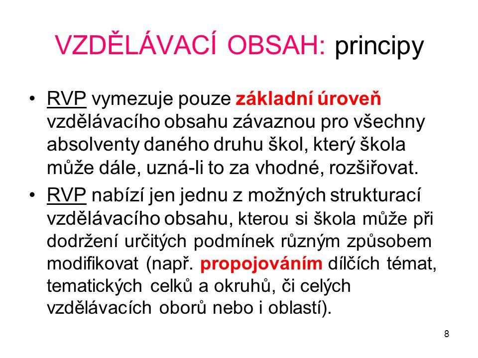 8 VZDĚLÁVACÍ OBSAH: principy RVP vymezuje pouze základní úroveň vzdělávacího obsahu závaznou pro všechny absolventy daného druhu škol, který škola můž