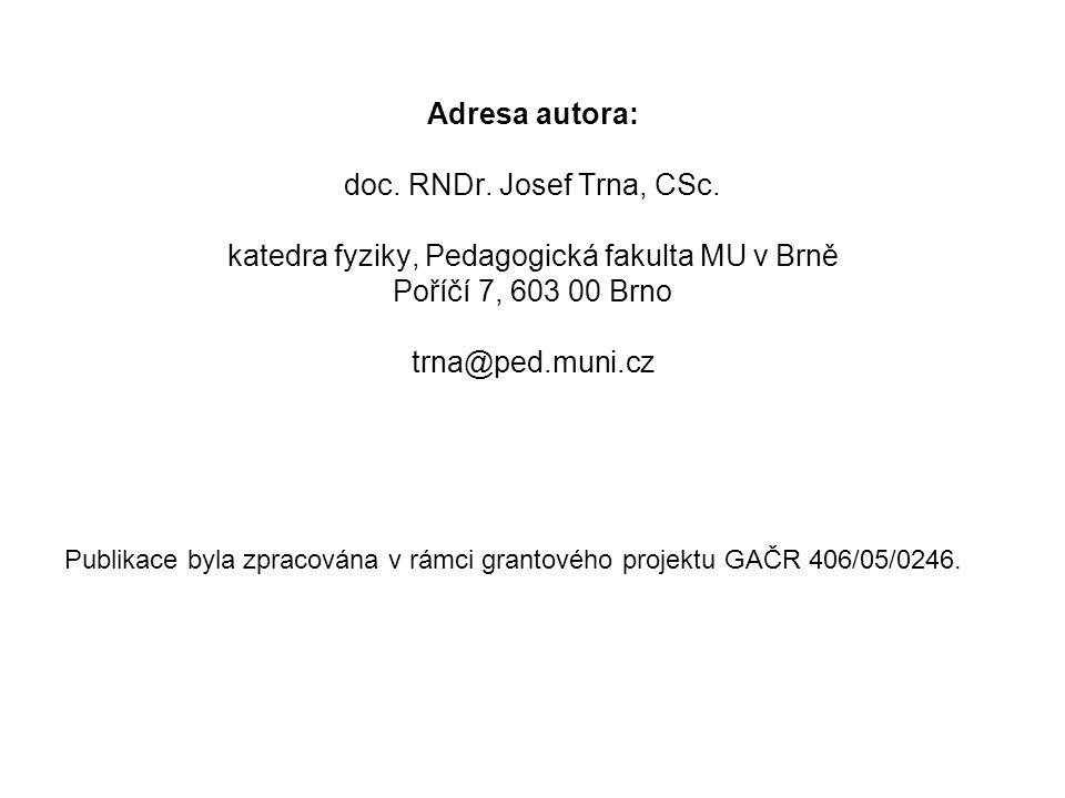 Adresa autora: doc. RNDr. Josef Trna, CSc. katedra fyziky, Pedagogická fakulta MU v Brně Poříčí 7, 603 00 Brno trna@ped.muni.cz Publikace byla zpracov