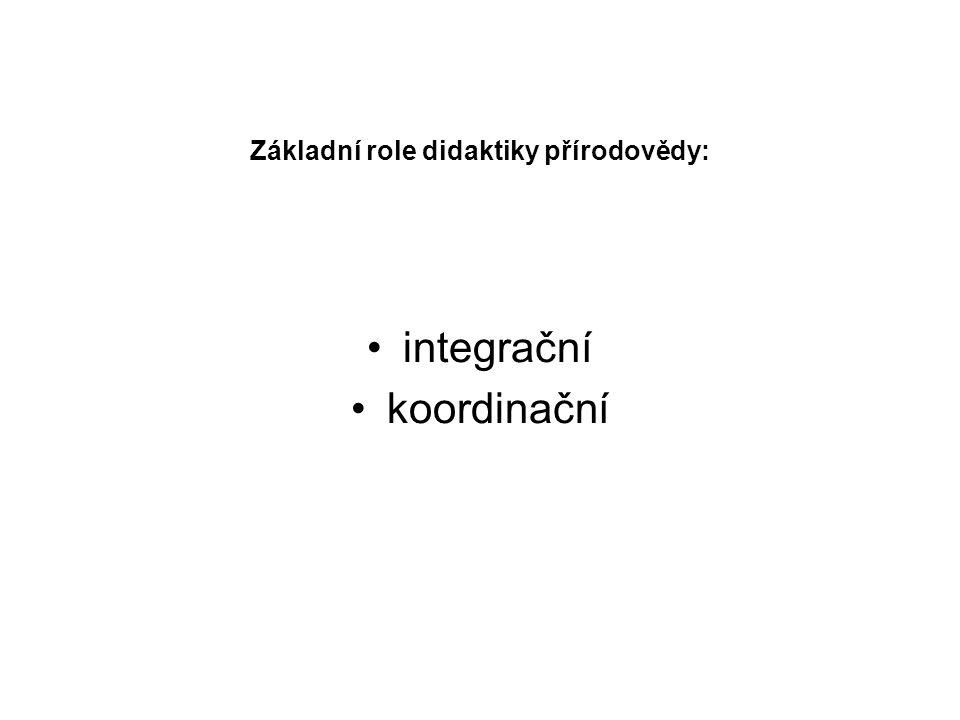 Základní role didaktiky přírodovědy: integrační koordinační