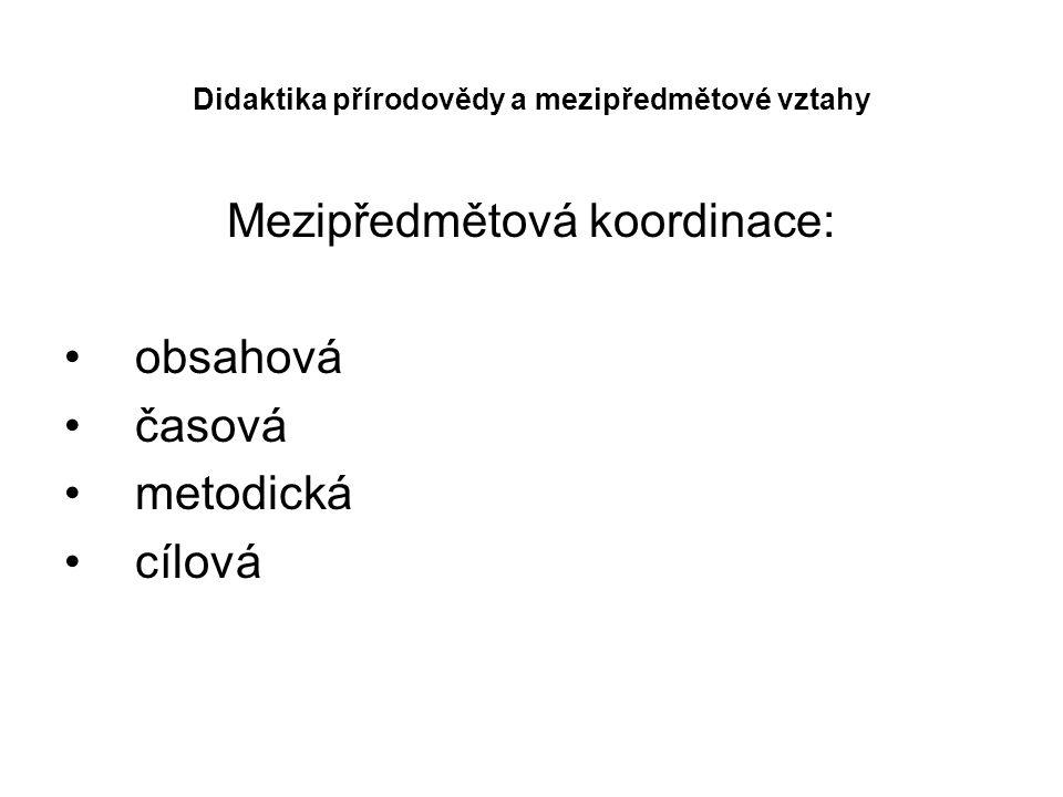 Didaktika přírodovědy a mezipředmětové vztahy Mezipředmětová koordinace: obsahová časová metodická cílová