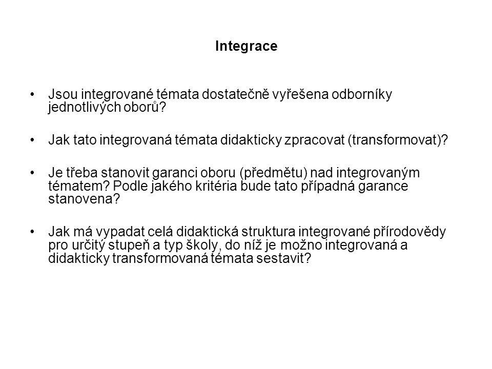 Integrace Jsou integrované témata dostatečně vyřešena odborníky jednotlivých oborů? Jak tato integrovaná témata didakticky zpracovat (transformovat)?