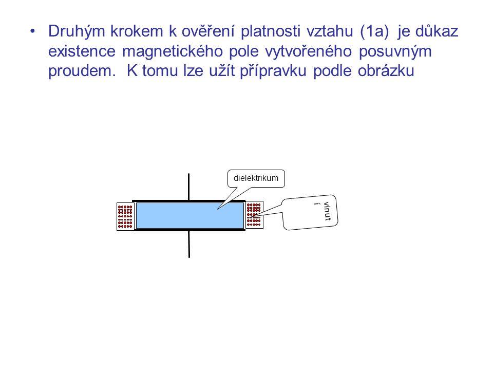 Druhým krokem k ověření platnosti vztahu (1a) je důkaz existence magnetického pole vytvořeného posuvným proudem.
