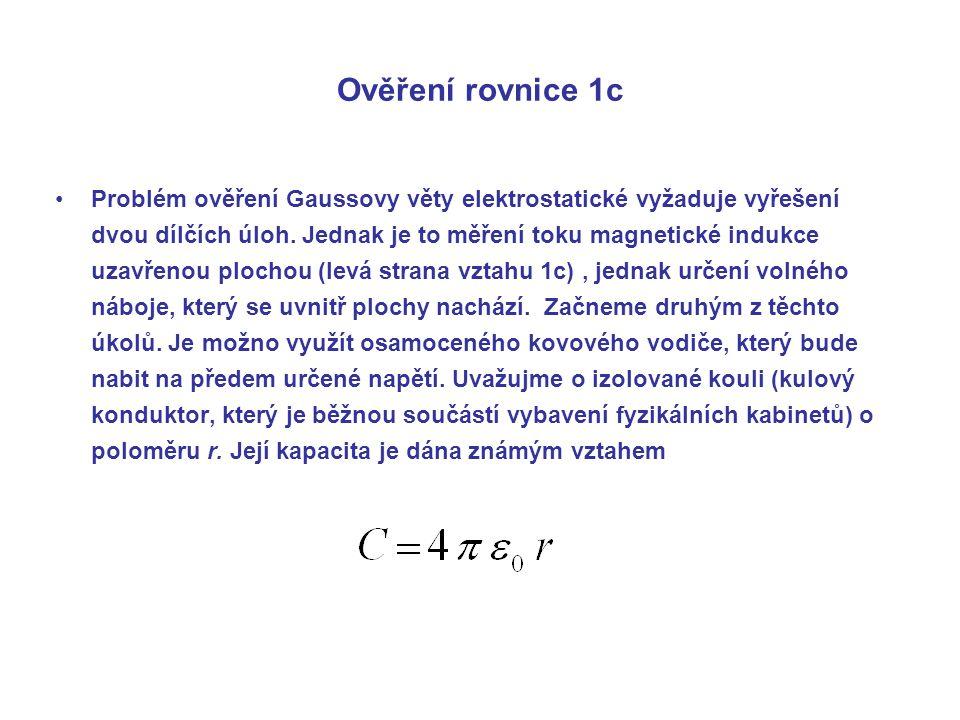 Ověření rovnice 1c Problém ověření Gaussovy věty elektrostatické vyžaduje vyřešení dvou dílčích úloh.