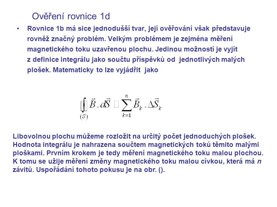 Ověření rovnice 1d Rovnice 1b má sice jednodušší tvar, její ověřování však představuje rovněž značný problém.