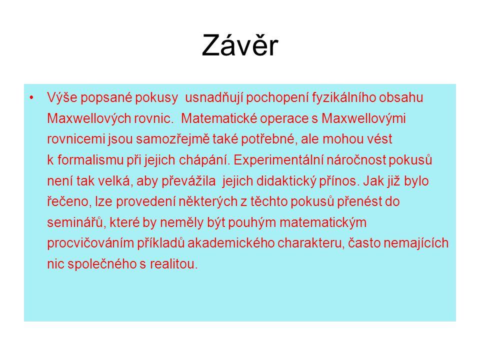 Závěr Výše popsané pokusy usnadňují pochopení fyzikálního obsahu Maxwellových rovnic.