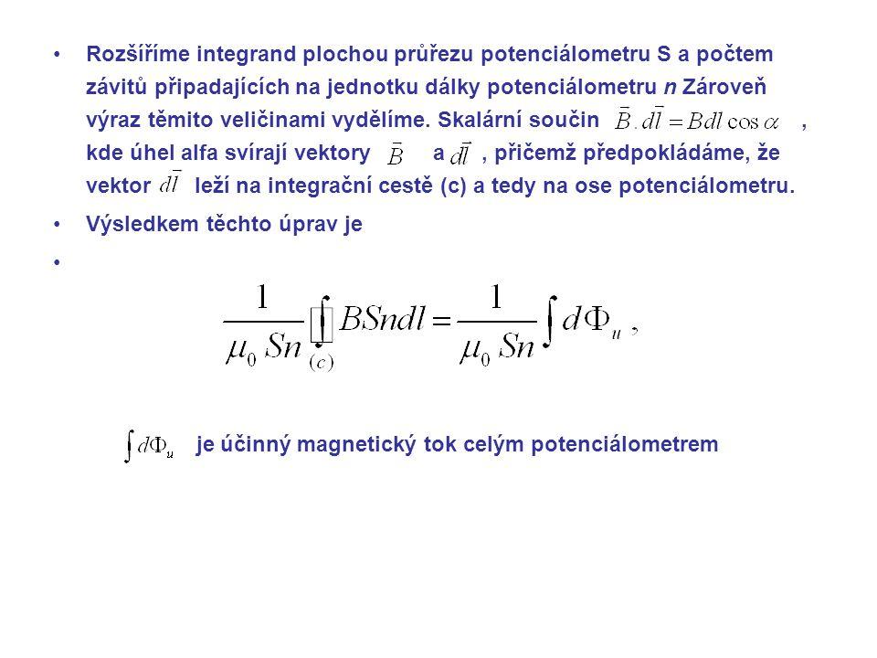 Rozšíříme integrand plochou průřezu potenciálometru S a počtem závitů připadajících na jednotku dálky potenciálometru n Zároveň výraz těmito veličinami vydělíme.