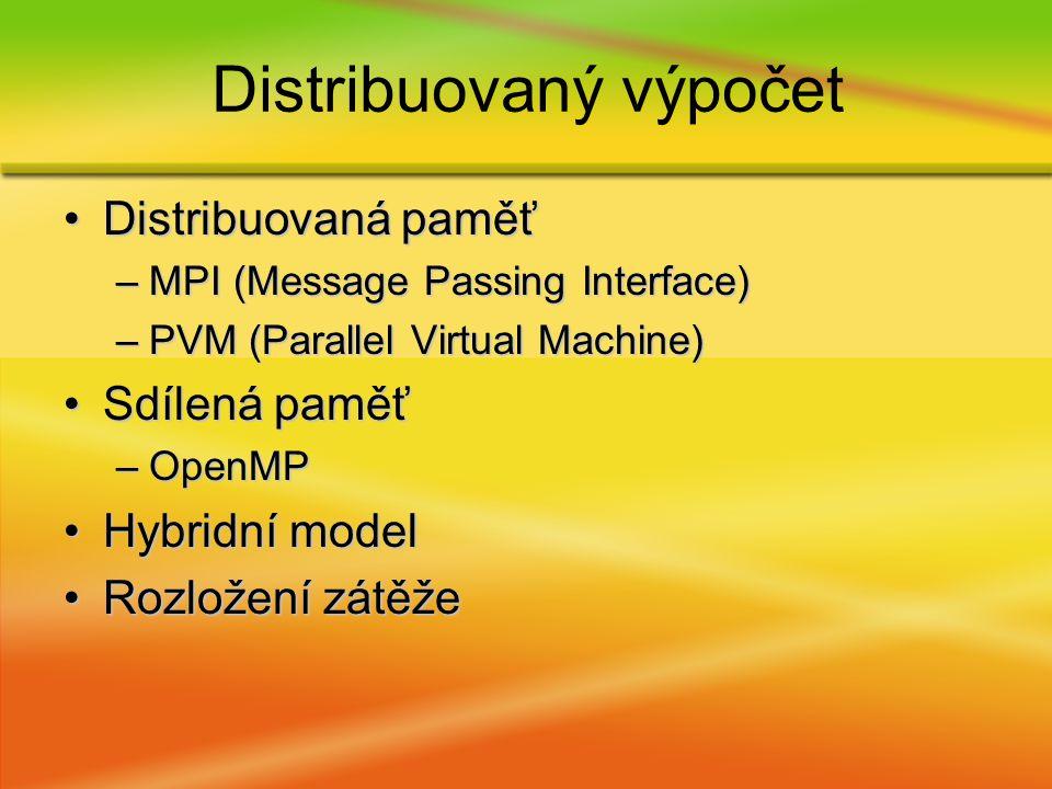 Distribuovaná paměťDistribuovaná paměť –MPI (Message Passing Interface) –PVM (Parallel Virtual Machine) Sdílená paměťSdílená paměť –OpenMP Hybridní modelHybridní model Rozložení zátěžeRozložení zátěže Distribuovaný výpočet