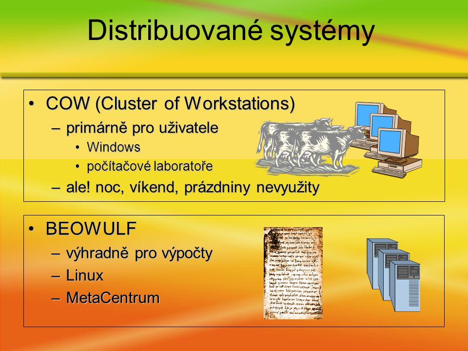 COW (Cluster of Workstations)COW (Cluster of Workstations) –primárně pro uživatele WindowsWindows počítačové laboratořepočítačové laboratoře –ale.