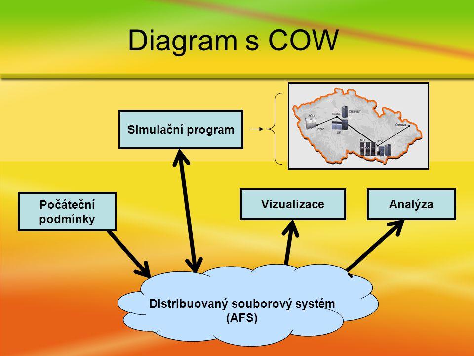 Diagram s COW VizualizaceAnalýza Počáteční podmínky Simulační program Distribuovaný souborový systém (AFS)