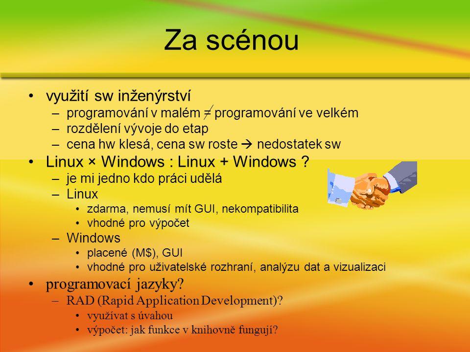 využití sw inženýrství –programování v malém = programování ve velkém –rozdělení vývoje do etap –cena hw klesá, cena sw roste  nedostatek sw Linux × Windows : Linux + Windows .