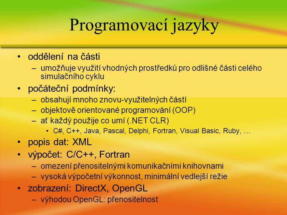 oddělení na části –umožňuje využití vhodných prostředků pro odlišné části celého simulačního cyklu počáteční podmínky: –obsahují mnoho znovu-využitelných částí –objektově orientované programování (OOP) –ať každý použije co umí (.NET CLR) C#, C++, Java, Pascal, Delphi, Fortran, Visual Basic, Ruby, … popis dat: XML výpočet: C/C++, Fortran –omezení přenositelnými komunikačními knihovnami –vysoká výpočetní výkonnost, minimální vedlejší režie zobrazení: DirectX, OpenGL –výhodou OpenGL: přenositelnost Programovací jazyky